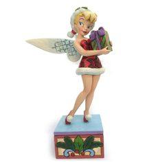 "Tink has a special gift - but have you been naughty or nice? ""HOLIDAY WISHES"" - TINKER BELL WITH PRESENT FIGURINE (Jim Shore Disney Traditions) #Disney #Tink"