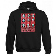 "Kapuzen Sweatshirt ""Known Icons of Horror"" Fruit of the Loom, Beuteltasche, 80% Baumwolle"