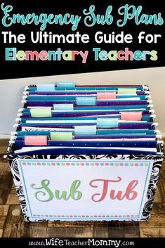The ultimate guide to emergency sub plans for elementary teachers. Learn how to prepare substitute plans in a sub tub and sub binder. Sub plan organization for math, science, writing, social studies, and language arts sub plans. Many substitute teacher ideas that you can use for your Pre-K, Kindergarten, 1st, 2nd, 3rd, 4th, 5th, 6th grade classroom. Also for special education. Includes free sub plans, sub plan freebie. Common core aligned sub plan template for your substitute binder.