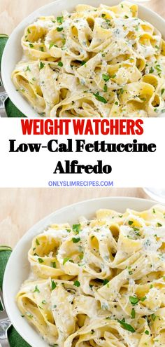 For a lighter take on a classic, try Food Network Kitchen's Low-Cal Fettuccine Alfredo recipe. Low-fat cream cheese and milk save you calories and fat… Ingredients 1 tablespoon unsalted butter 1 clove garlic, minced 1 Healthy Pasta Recipes, Healthy Pastas, Diet Recipes, Vegetarian Recipes, Low Cal Chicken Recipes, Eat Healthy, Weight Watchers Pasta, Weight Watchers Vegetarian, Fettuccine Alfredo