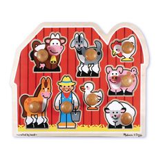 This extra thick eight piece puzzle features seven favourite farm animals and a farmer standing out against the big, red barn!