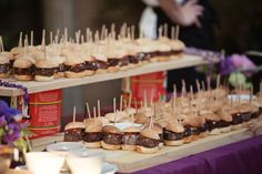 Slider Display | Absolute Celebrations Catering | www.absolutecelebrations.com | San Francisco Bay Area Bar Displays, Display Ideas, Slider Bar, Catering Display, Food Design, Sliders, Bbq, Buffet Ideas, Shawnee