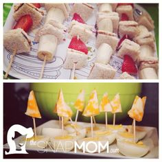 """Healthy party snacks! Make """"PB """" skewers with whole wheat bread, almond butter, bananas and strawberries. Also sail the high seas with these cute egg and cheese boats. For more exciting DIY ideas check out http://www.thesnapmom.com/"""