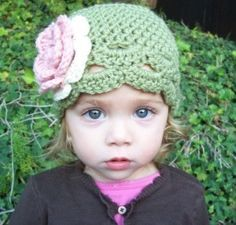 Sale Ready to ship 3 - 6 months flapper hat dusty green. $8.40, via Etsy.