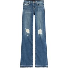 J Brand Distressed Flared Jeans (17705 RSD) ❤ liked on Polyvore featuring jeans, blue, denim jeans, flared leg jeans, ripped jeans, destructed jeans and distressed flare jeans