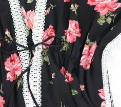 PinkCad3 Black & Pink Rose Print White Crochet Trim Drawstring Waist Kimono Festival Trends, Crochet Trim, Summer Looks, Drawstring Waist, Floral Tops, Kimono, Rose, Pink, Black