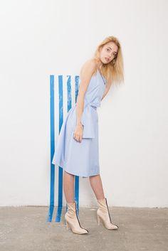 IMRECZEOVA SS18 striped wrap dress with straps 60 Degrees, Wrap Dress, Dresses, Fashion, Vestidos, Moda, La Mode, Wrap Dresses, Fasion