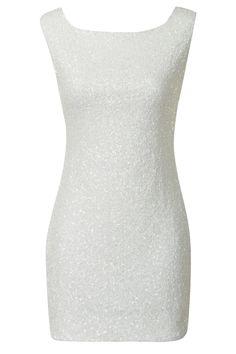 sleeveless white sequin dress
