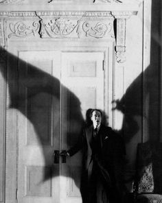 shadow of a bat in this black and white horror classic, DRACULA