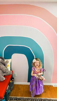 Playroom Paint, Kids Room Paint, Playroom Design, Kids Room Design, Kids Room Murals, Bedroom Murals, Girls Bedroom Mural, Rainbow Room Kids, Rainbow Wall