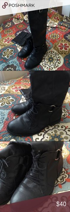 Tall black boots Boutique bought! Great condition Shoes Combat & Moto Boots