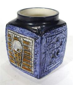 Troika cube vase Cube, Mid Century, Pottery, Marmalade, Preserve, Glass, Artist, Joy, Vintage