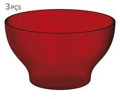 Jogo de Bowls Cristal Vermelho - 500ml