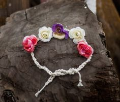 Flower Crown Headband Baby Tieback Headband by GabriCollection