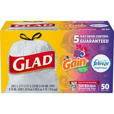 Glad Tall Kitchen Drawstring Trash Bags - OdorShield 13 Gallon White Trash Bag - Vanilla and Cream - Kitchen Garbage Bags, Kitchen Trash Cans, Febreze, Dorm Necessities, Trash Removal, Bad Room Ideas, Trash Bag, House Smells, Spring Cleaning