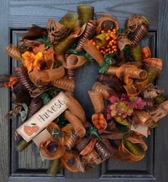 Fall Harvest Deco Mesh Wreath by WelcomeHomeWreath on Etsy