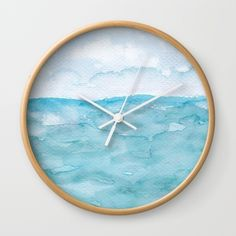 Watercolor by TessaSanDiegoArt on a clock. Available in natural wood, black or white frames, our diameter unique Wall… Green Wall Clocks, Wall Clock Frame, Unique Wall Clocks, Watercolor Texture, Abstract Watercolor, White Frames, Wall Colors, Natural Wood, Blue Green