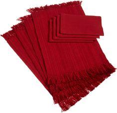 Amazon.com - DII 100% Cotton Tonal Linen Set - 4 Placemats & 4 Napkins, Tango Red - Place Mats #AmazonCart #DII #DesignImports