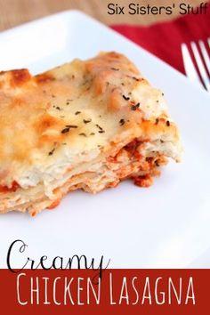 Creamy Chicken Lasagna from Six Sister's Stuff #lasagna #chicken #Italian #recipe #dinner