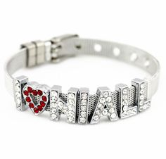 One Direction DIY 1D I love  Niall 1D   Niall Silver Tone Chain Heart Crystals Letter Colorful Bracelet Liam via Etsy