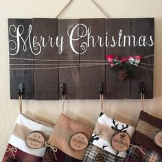 christmas stocking holder christmas stocking hanger holiday decor rustic christmas christmas stocking christmas stockings by OhHappyDayCo on Etsy