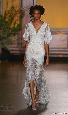 claire pettibone fall 2016 bridal new york runway butterfly sleeves v neckline vintage style satin sheath wedding dress aquamarine sylvie