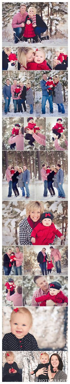 Winter family of three