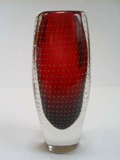 STYLISH VINTAGE SCANDINAVIAN AIRIEL CONTROL BUBBLE ART GLASS VASE/GUNNEL NYMAN