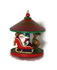 Vintage Christmas Ornament Hallmark 1980 Carousel Santa by RayMels, $7.50