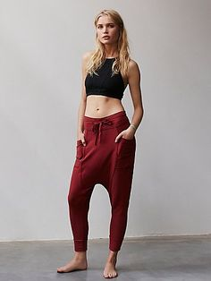 Right On Pant | Super soft and comfy harem style lounge pants featuring straight legs, hip pockets and a drawstring waistband.  Exposed seam detailing.