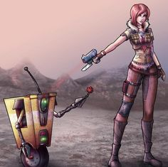 Oh Claptrap you so cute! with Lilith - Borderland 2 Lilith Borderlands, Borderlands Series, Tales From The Borderlands, Video Game Art, Video Games, Tiny Tina, Handsome Jack, Modern Games, Gamer Humor