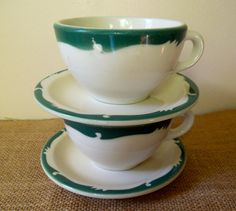vintage restaurant ware coffee cups and saucers