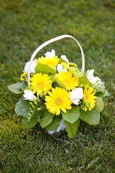 Yellow & White Flower Girl Basket with Gerbera Daisies & Freesia  Emma &Ian - Portfolio - InFullBloombyMJL