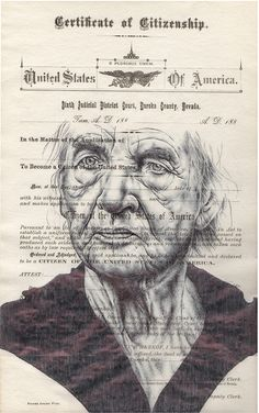 Bic Biro drawing on citizen of America form. by mark powell, via Behance Portraits, Portrait Art, Mark Powell, Collages, Gcse Art Sketchbook, Sketchbooks, Ballpoint Pen Drawing, Pencil Sketching, Observational Drawing