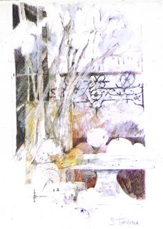 Shirely Trevena Provence Window - Pencil & Wax Crayon 39 x 29 cm