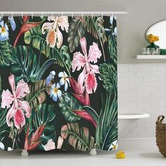 Our floral fabric shower curtains will give your bathroom a touch of natural elegance! Colorful Shower Curtain, Flower Shower Curtain, Shower Curtain Rings, Colorful Curtains, Rustic Curtains, Red Curtains, Curtains With Rings, Tropical Shower Curtains, Cool Shower Curtains