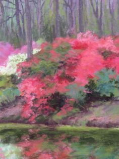 """""""Azalea Falls"""" 12""""x9"""" Pastel Plein Air - $550 - this was painted on location (plein air) in Callaway Gardens during a group paint out several years ago. I have hung onto this painting, but decided to put it in this show for sale. www.marshasavage.com"""