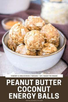These no-bake Peanut Butter Coconut Balls are perfect energizing snack. These energy balls are easy to make with only 5-ingredients, packed with flavor and so addictive! (GF+V) ----- #energyballs #energybites #coconutballs #peanutbutter #peanutbutterballs #snack #healthysnack #healthy #easy #vegan #glutenfree Easy Gluten Free Desserts, Easy Desserts, Delicious Desserts, Healthier Desserts, Cheesecake Oreo, Cheesecake Recipes, Baking Recipes, Snack Recipes, Snack Hacks