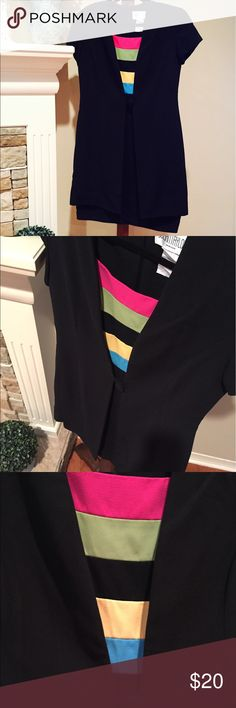 Black with bright insert jacket/dress Above the knee black dress with jacket attached. The jacket part is long...almost the same length as dress. Back zipper. The top part under the jacket is very brightly striped. Very flattering fit and perfect for summer! Dresses Mini