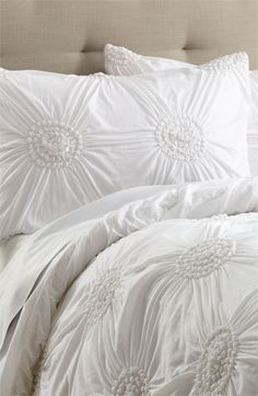 White Shams & Duvet Cover. Want all white linens on my bed. Wonder how long they will stay white?