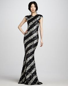 Sequin-Stripe Gown - Alice + Olivia (Flash. Sparkle. Stun. Formal Gown Long Black Silver Stripes Embellishments Synthetic-blend Evening Sequins Short sleeves)