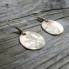 Brass Feather Earrings by BergamotJewelry on Etsy