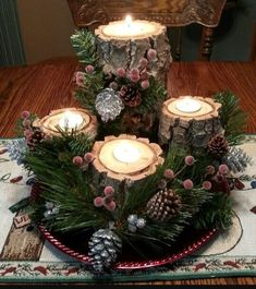 72 Trend Simple Rustic Winter Christmas Centerpiece - Simple And Popular Christmas Decorations, Table Decorations, Christmas Candles, DIY Christmas Cente - Winter Table Centerpieces, Christmas Candle Decorations, Christmas Candles, Christmas Wood, Simple Christmas, Winter Christmas, Christmas Crafts, Table Decorations, Centerpiece Ideas