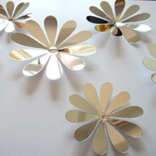 Multi-Cores 3D Espelho adesivos de parede Bela Decoração Para Casa 12 pcs Flor Adesivo Decoração DIY Oferta Especial(China (Mainland))