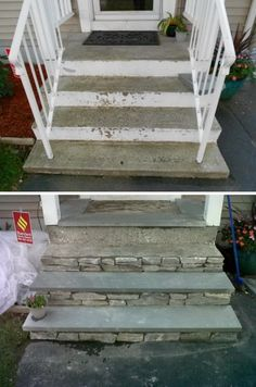 Impressions Count – How to Increase Your Curb Appeal Reface Concrete Front Steps with Stone.Reface Concrete Front Steps with Stone. Concrete Front Steps, Front Porch Steps, Concrete Stairs, Concrete Patio, Cement Steps, Front Stairs, Painting Concrete Porch, Painted Concrete Steps, Repairing Concrete Steps