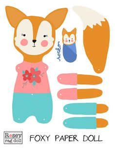 Muñeca de papel DIY fox, articulado, Rosey muñeca de trapo