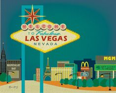 Original Drawing of Las Vegas Strip, Nevada Art Poster Print. via Etsy.