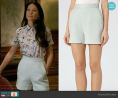 Joan's mint shorts on Elementary.  Outfit Details: https://wornontv.net/60877/ #Elementary