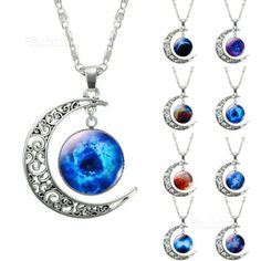 buy 1 Pcs Hollow Moon & Glass Galaxy Statement Necklaces Silver Chain Pendants New Fashion Jewelry Collares Friend Best Gifts from importexpress with wholesale price. Necklace Price, Moon Necklace, Silver Chain Necklace, Crystal Necklace, Pendant Necklace, Silver Ring, Silver Necklaces, Handmade Necklaces, Silver Jewelry