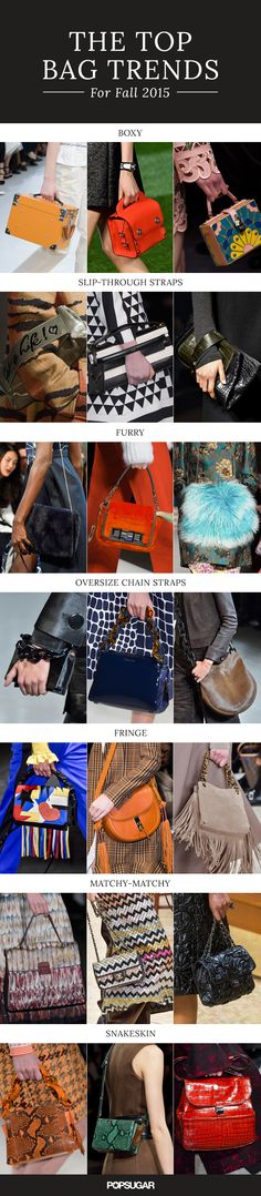 The 7 Biggest Bag Trends For Fall 2015: Furry bags, Fringe bags, Snakeskin bags, bags w/ big Chain Straps, Matching the color/print of your bag to the color/print of your outfit.
